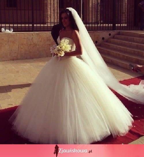 Niewiarygodnie Zjawiskowa.pl - Przepiękna suknia ślubna z welonem! GN06